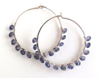 Sterling Silver Hoop Earrings with Iolite. Hand Hammered Large Round Sterling Silver Violet Iolite Hoops.