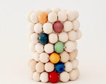 Ceramic Jewelry, Beaded Stacking Bracelets -  SPECIAL SALE, boho jewelry, ceramic bracelet, handmade bracelet, statement jewelry
