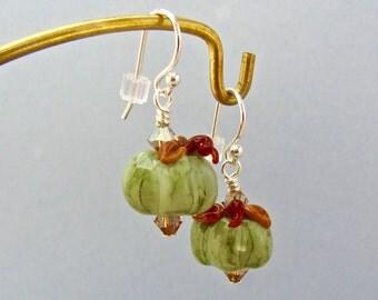 Green Pumpkin Earrings - Rustic - Handmade Lampwork Bead Jewelry - SRA
