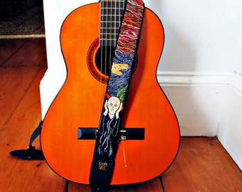 The Scream Custom Hand Embroidered Guitar Strap - Edvard Munch Music Strap- Guitar Accessory