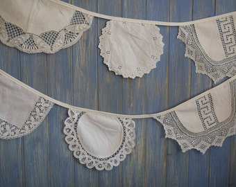 Vintage Linen Bunting. Wedding Bunting. Wedding Decoration. This strand is 4m long.