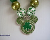Mickey mouse disney Paddy's Day Green Gold Clover Mickey Pendant Rhinestone Bubble Gum Chunky Necklace mickey ears  chunky bead photo prop