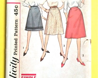 Uncut 1960s Skirt Pattern 60s skirt patterns Vintage Sewing Pattern Waist 30 Hip 40 inches