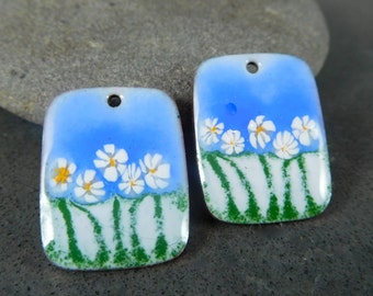 Floral Enameled Copper Earring Charms, Blue White Green Yellow Earring Pair, Rectangle Pendants, Torch Fired Enamel, Sgraffito Earring Beads