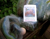 Earth Ball Felting Kit--Wet Felting--Plant Dyed Wool, Wooden Ball, and Instructions