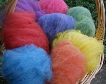 Rainbow Fairy Wool--Bright Mix--Wet Felting/Needle Felting--2 Ounces--Eight Colors--Plant Dyed