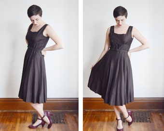 1950s Brown Sleeveless Dress - M