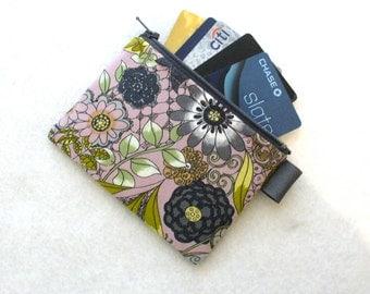 The Ghastlies Coin Purse Wallet Business Card Holder Credit Card Case Zippered Alexander Henry Mauve Gray Ghastlie Garden Ghastly Floral MTO