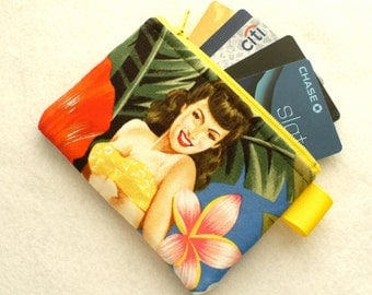 Island Girls Tropical Hawaiian Fabric Business Card Case Coin Purse Fabric Zippered Credit Card Womens Card Holder Wallet Alexander Henry