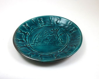 Stag Deer RAKU Bowl Handmade Ceramic Pottery the God