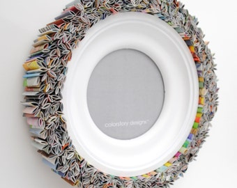 colorful ROUND white picture frame - made from recycled magazines, blue, green, red, purple, pink, yellow, orange, frame, unqiue
