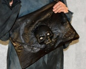 Gift for her,  gift for women, gift for mom, Skull clutch Skull accessories, leather women bag, Rock bag, leather clutch