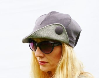 Newsboy cap - Gray corduroy/tweed - womens hat, womens cap