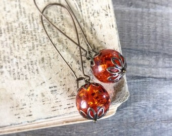 Amber Earrings, Antiqued Brass Dangles, Natural Amber Orbs, Bright Orange Amber Earrings, Healing Stone Jewelry, Simple Dangle Drops