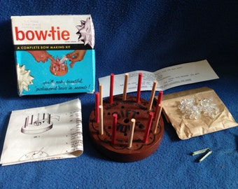 Vintage, Bow Tie, A Complete Gift Bow Making Kit, w Pins and Pin Holders, in Box w Instructions.