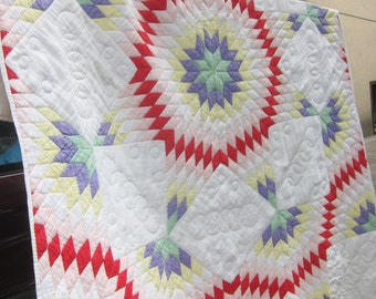 LONE STAR vintage quilt, 1930s quilt, antique quilt, star quilt,  vintage patchwork,Star of Bethlehem, hand quilted, farmhouse decor