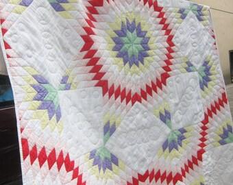 LONE STAR vintage quilt, 1930s quilt, antique quilt, star quilt,  vintage patchwork,Star of Bethlehem, hand quilted, farmhouse decor
