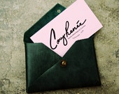 Green leather, business card case, coin purse, leather envelope, earbud holder, leather wallet, Gift under 20 dollars