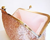 Sequined Wedding Clutch, Pink Champagne Evening Bag, Bridesmaids Gift, Wristlet