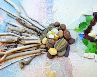 Natural Elements Beachcomber Collection of 100 Driftwood Pieces, Seaglass , Pottery and Rocks for Home Decor BC100