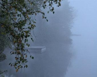 "Landscape photography dreamy fog mist woodland forest nature trees reflection - ""Blue lake"" 8 x 10"