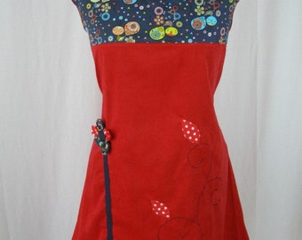 Kyriu dress red and blue bird and flower in relief