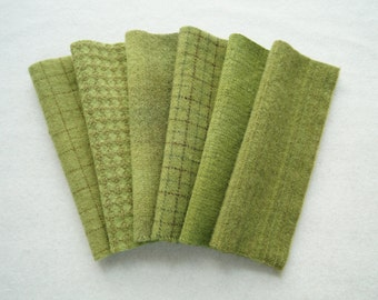Medium Lime - Peridot Green Hand Dyed Felted Wool Fabric bundle for Wool Applique, Penny Rugs, Quilting, Sewing by Quilting Acres