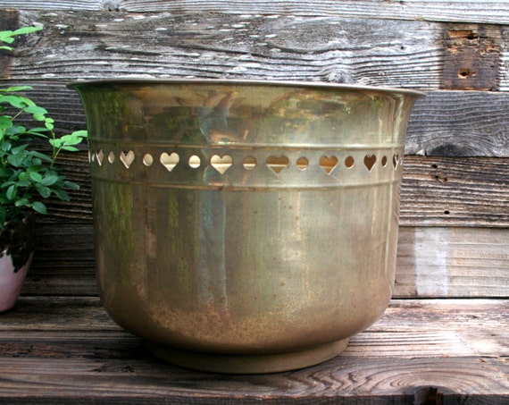 Vintage Large Brass Planter with Cutout Heart Design