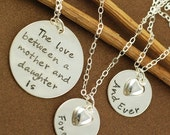 SALE Three Hand Stamped Necklace, Mother & Daughter Jewelry, Personalized Jewelry, Mommy Necklace