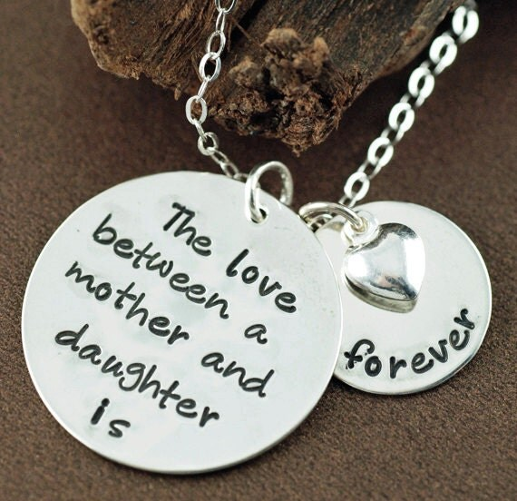 The love between a Mother & Daughter is forever,Mother Daughter Necklace, Hand Stamped Mommy Necklace,  Mothers Day Gift, Gift for Mom