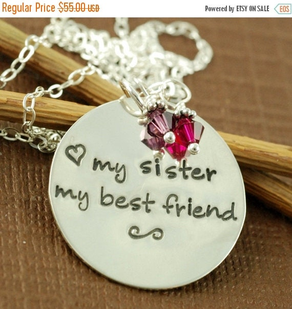 SALE My Sister My Best Friend, Hand Stamped Necklace, Personalized Jewelry, Sister, Friend, Keepsake