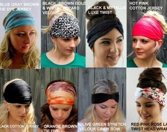 Yoga Headband Turban Turband Choose ANY THREE - Wide Stretchy Headband Workout HeadBand Cotton Jersey Headband Head Wrap - 40 Color Options