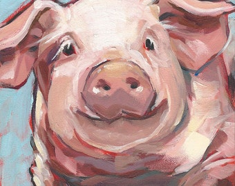 Digital download art - Printable fine art instant download print - From my Smiling Pig Oil painting