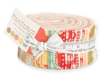 """Jelly Roll Strawberry fields revisited by Fig Tree for Moda fabrics 2.5"""" precut strips IN STOCK"""