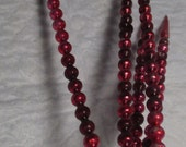 5 Red Mercury Glass Beaded Beads Christmas SPIKES ICICLES Decorations OLD Christmas Lot Accessory