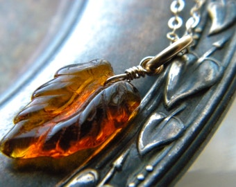 Gold filled orange brown Autumn leaf necklace - Handmade jewelry - Fall Fashion