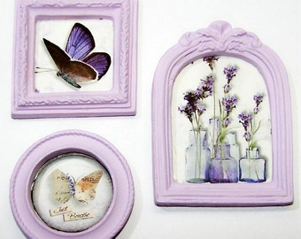 Wall Decor, Miniature, Doll House, Lilac, Violet, Purple, Home Decor, 3 piece Set, Pictures, Frames, Butterfly, Free Shipping, Just Believe