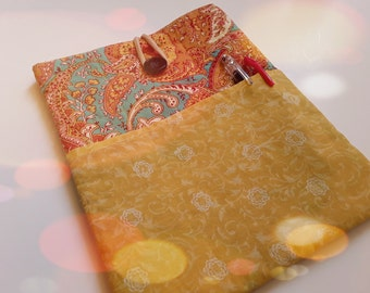 "Handmade Fabric Notebook Sleeve, Tablet Sleeve 11"", OOAK, Ready To Ship, Paisley, Yellow, Amber, TurquoiSee, CIJ"