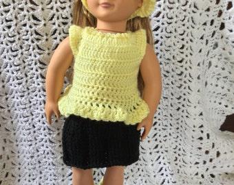 "American girl/18"" skirt,top and sun hat"