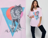 Wolf Shirt 80s Animal TShirt ALASKA Tee Vintage Retro Graphic Shirt Paper Thin Burnout Screen Print 90s t shirt Hipster Pink Extra Large Xl
