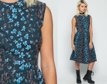 Cotton Day Dress 1960s Dress Sundress Floral Print Midi Garden Party 60s Sun Pin Up Blue Full Skirt High Waist Sleeveless Extra Small XS