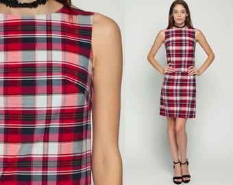 1960s Mod Dress Plaid SCOOTER Space Age Shift 60s Mini Drop Waist GOGO Vintage Sleeveless Minidress Twiggy Red White Extra Small xs