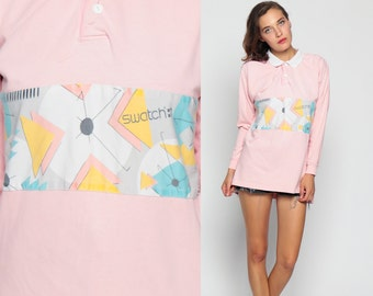 Long Sleeve Shirt SWATCH 80s Pink Sweatshirt Pastel Collared T Shirt Grunge POLO Shirt Geometric Top Hipster Retro Tee Vintage Medium