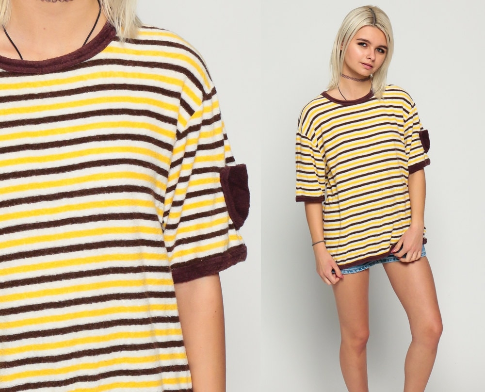 Ringer tee striped t shirt terry cloth 80s tshirt retro top for Best striped t shirt