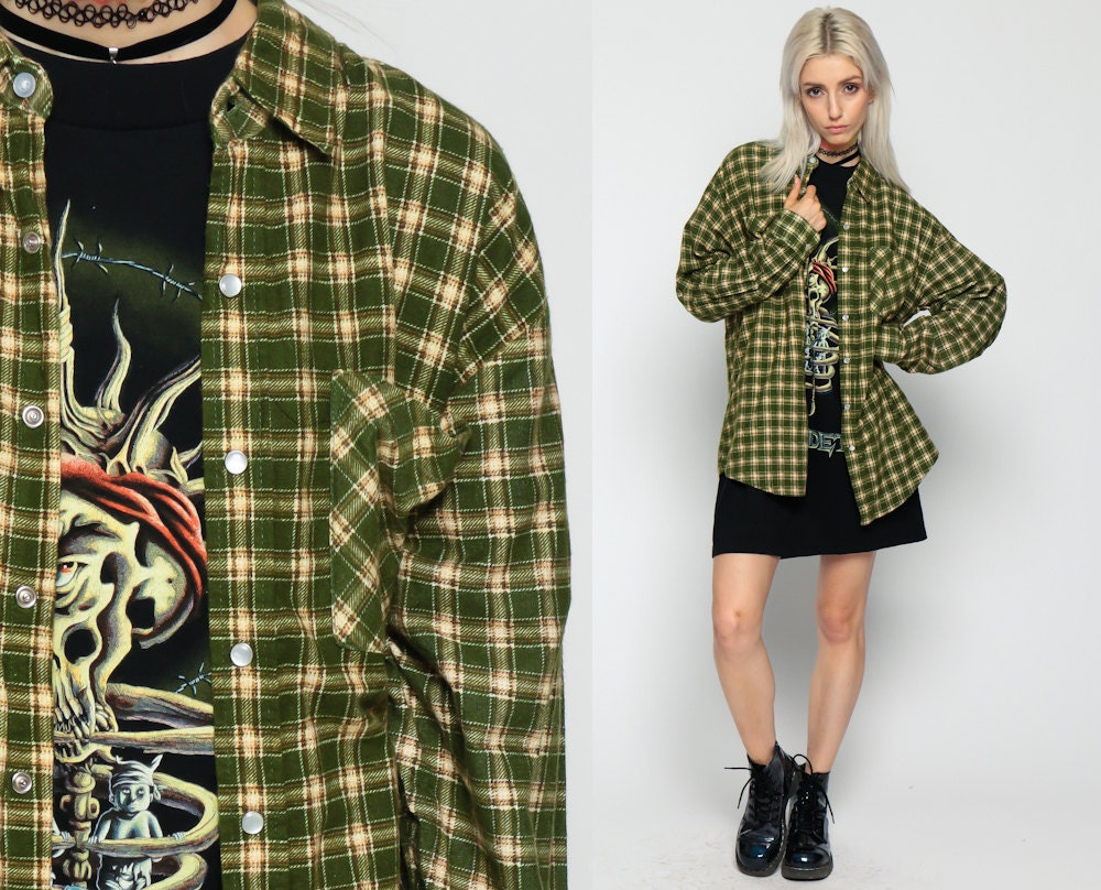 Plaid button up shirt 90s grunge flannel shirt pearl snap for Button up flannel shirts