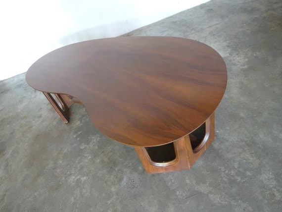 Kidney Shaped Walnut Coffee Table