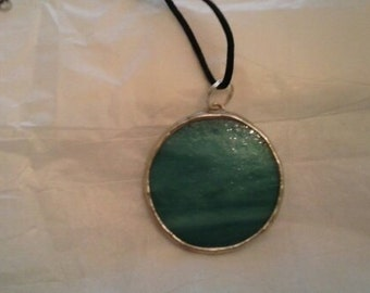 Stained Glass Teal Circle Pendant