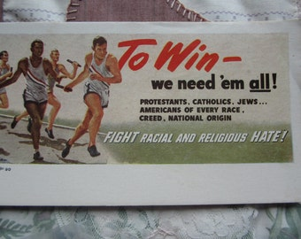 To Win- we need 'em all -Fight racial and religious HATE! Blotter. Paper ephemera fifties