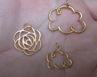 Gold Vermeil style Cloud Pendant(one)Small Or Large size, or GP Rose