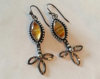 Montana Agate Earrings in Sterling Silver